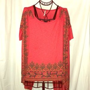 NWOT FREE PEOPLE®️BOHO GYPSY HI LOW TRIBAL TOP XS